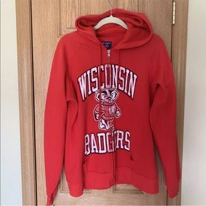 Champion Wisconsin Badger Zip Up Hoodie Sweatshirt